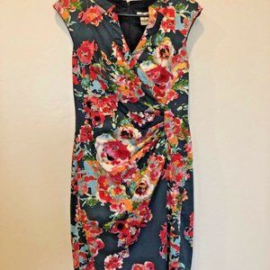 Andre Oliver Navy and Pink Faux Wrap Floral Dress